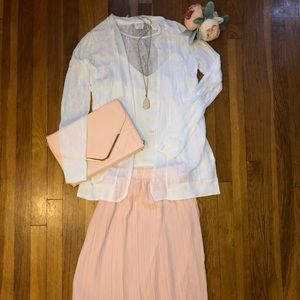 Never worn! Pale pink pleated skirt